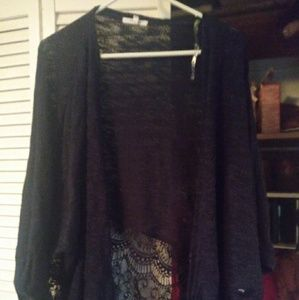 Maurices lace trim open front cardigan. Size 3